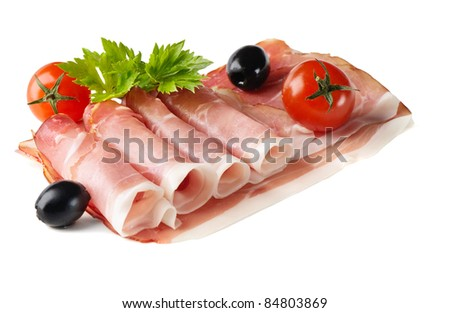 slices of ham isolated on the white background - stock photo