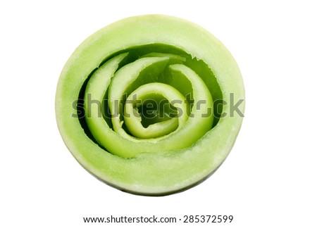 Slices of Honeydew Melon on White Background - stock photo