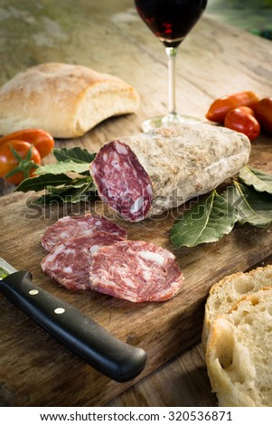 Slices of italian pork sausage