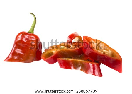 slices of juicy chopped bell pepper - stock photo