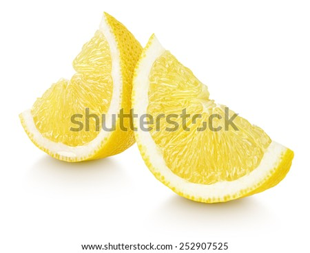 Slices of lemon citrus fruit isolated on white background - stock photo
