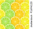 Slices of lemon, orange and lime. Seamless. Background. - stock vector