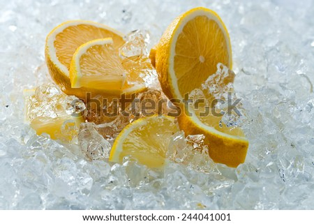 slices of lemon with ice