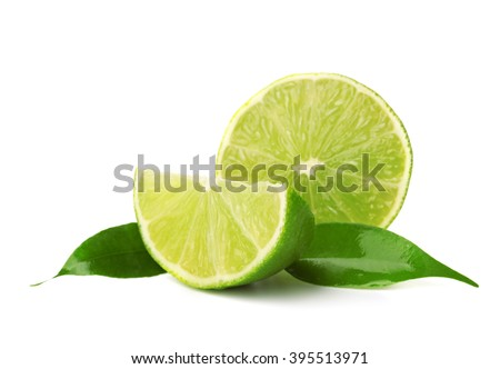 Slices of lime, isolated on white - stock photo