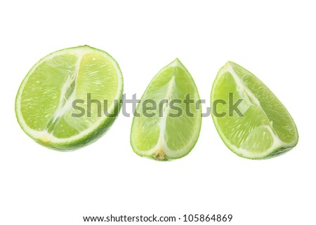 Slices of Lime on White Background - stock photo