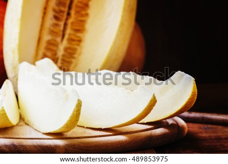 Slices of melon, selective focus