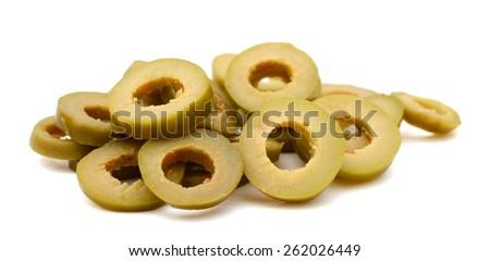 slices of olive on white background  - stock photo