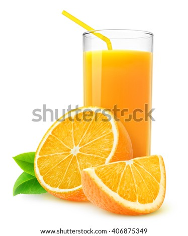 Slices of orange fruit and glass of juice isolated on white with clipping path - stock photo