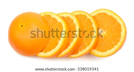 slices of orange on white background  - stock photo