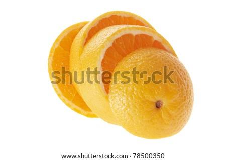 Slices of Orange on White Background - stock photo