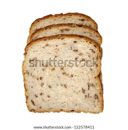 slices of organic multigrain light rye bread on a white background - stock photo