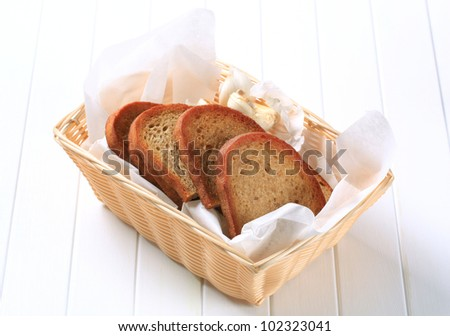 Slices of pan fried bread with garlic