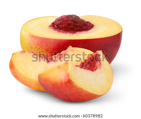 Slices of peach isolated on white - stock photo