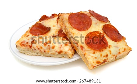 slices of pepperoni pizza isolated on white  - stock photo