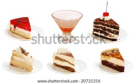 slices of pies with cream - stock photo