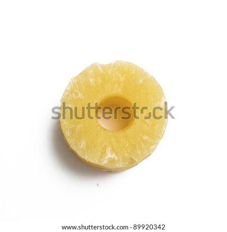slices of pineapple on white - stock photo