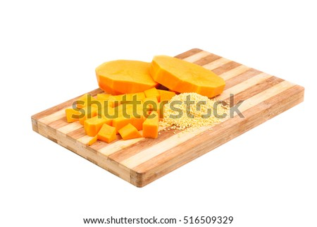 Slices of pumpkin and cutting board,isolated on white background