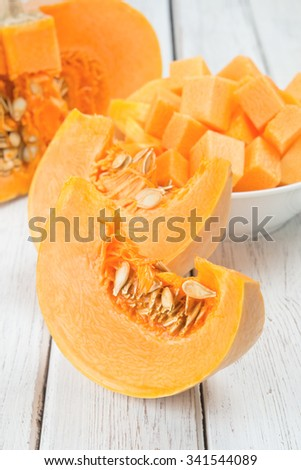 Slices of pumpkin on a white wooden table.