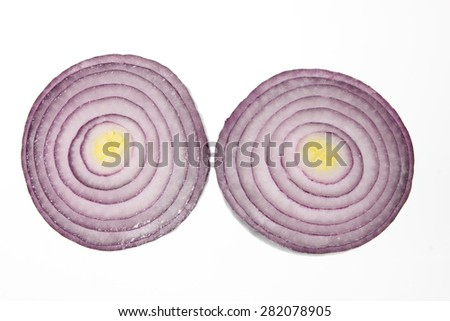Slices of Red Onion on Isolated White Background - stock photo