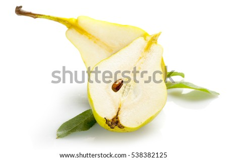 slices of ripe pear with leaves isolated on white background