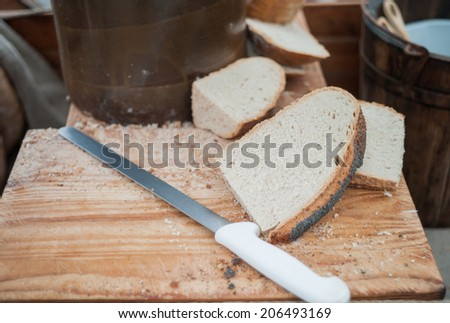 Slices of rustic bread - stock photo
