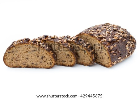 Slices of rye bread isolated on white background. - stock photo