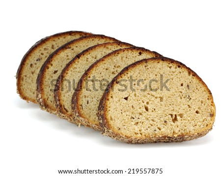 Slices of rye bread on a white background - stock photo