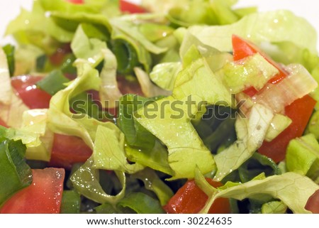 Slices of salad, tomatoes, green onions close-up - stock photo