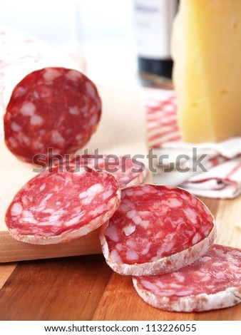 slices of salame from tuscany - stock photo