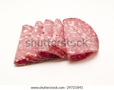 slices of salami - stock photo