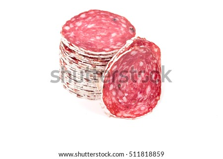 Slices of salami sausages isolated on a white background