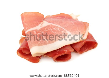 Slices of smoked meat, pork bacon