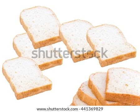 slices of soft whole wheat or whole grain bread breakfast pattern (ultimate bread work background) - stock photo