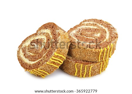 Slices of sweet roll cake isolated on white background