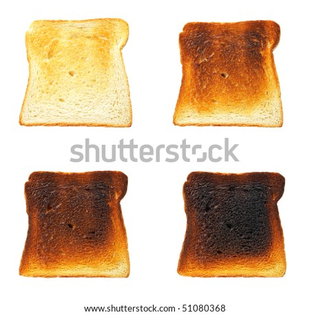 Slices of toast bread before and after, isolated on white background - stock photo