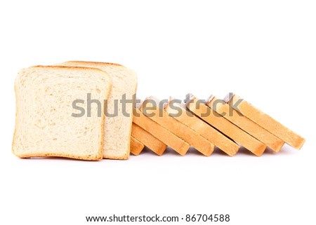Slices of toast isolated on white background.