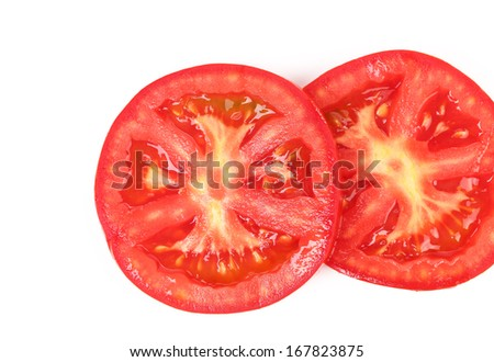 Slices of tomato. Close up. Whole background.