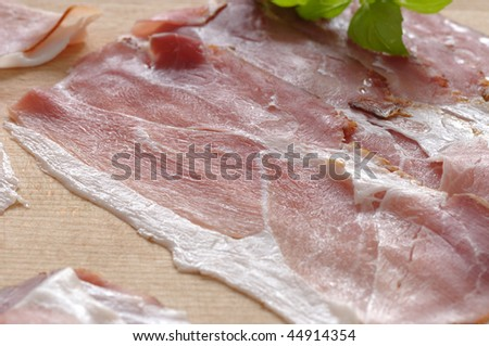 Slices of traditional schwarzwald ham