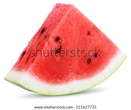 Slices of watermelon isolated on white background - stock photo