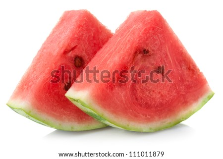 Slices of watermelon on white background - stock photo