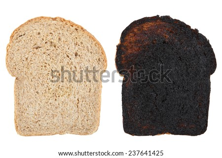 Slices of wheat bread before and after being burned - stock photo