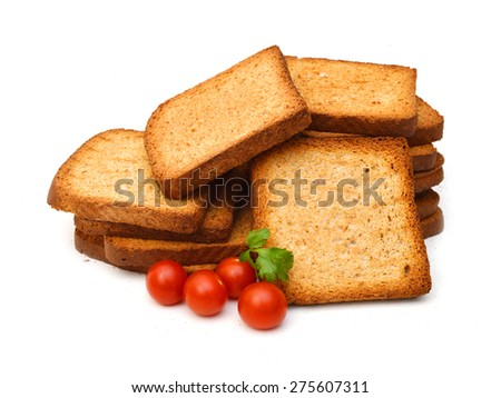 slices of wheat bread isolated white background