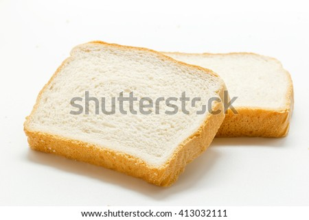 Slices of white bread isolated