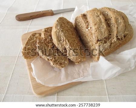 Slices of whole grain bread - stock photo