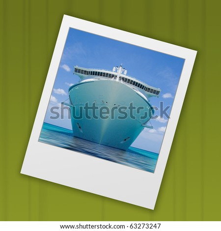 slide from instant camera of cruise ship - stock photo