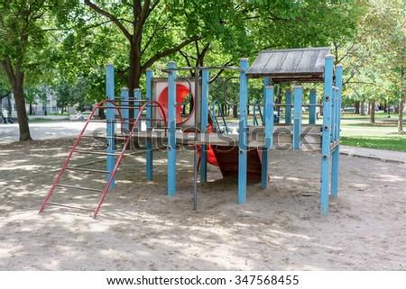 Slide in a playground, Toronto, Ontario, Canada - stock photo