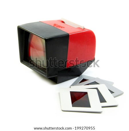 Slide projector and slide flim vintage on white background