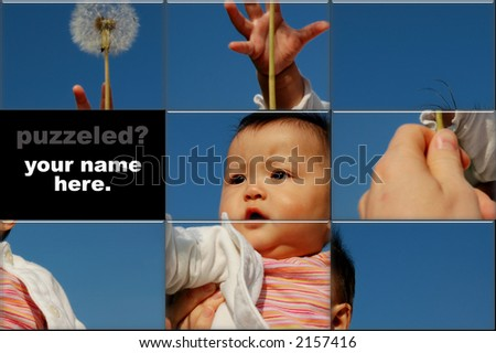 slide puzzle with picture of baby girl reaching for lavender. (room for your slogan) - stock photo