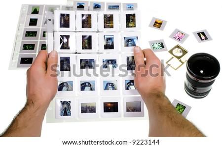 slide selection - stock photo