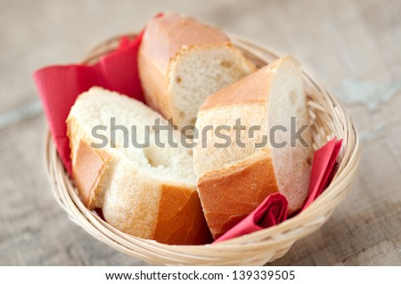 Slides of Bread in Bamboo Basket - stock photo